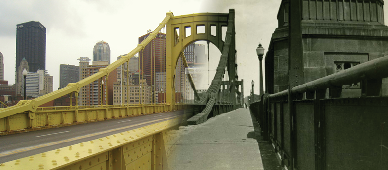 Composite image of the 6th Street bridge as it was in 1928 and today